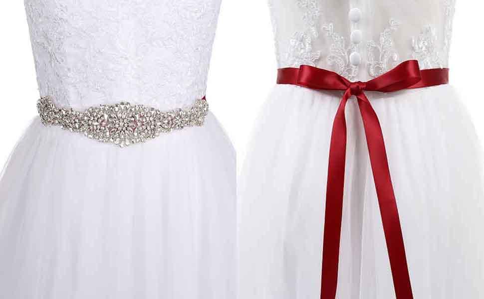 Changuan Bridal Crystal Rhinestone Wedding Dress Sash Belt For Prom