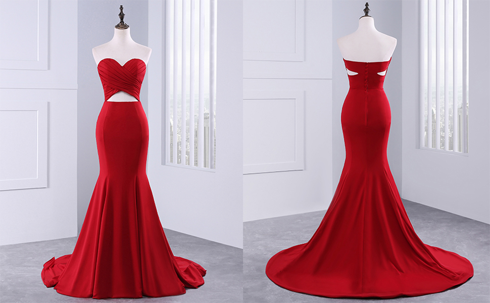 Changuan Womens Backless Mermaid Prom Dress Pleated Sweetheart Long Party Evening Gowns