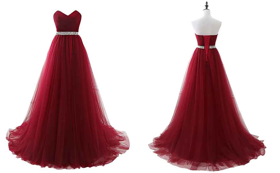 Changuan Long Evening Dresses Sleeveless with Belt Tulle Party Prom Dress