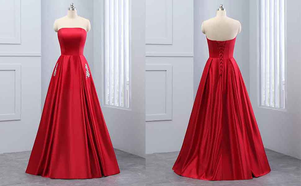 Changuan Womens Strapless Beaded Satin Evening Prom Dress Long Formal Gowns With Pocket