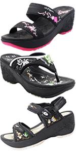 Gold Pigeon Shoes GP Women Wedge Platform Sandals flip-flops slides comfort sole waterproof