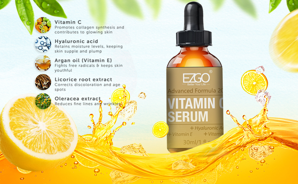 Advanced Formula 20% Potency Vitamin C Serum With Hyaluronic Acid and Vitamine E