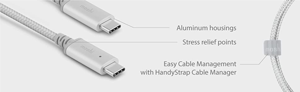 Ballistic Nylon Braided for iPad Pro//Galaxy//Pixel /& Devices Support USB-C Moshi Integra USB C Cable 6.6ft//2m USB 2.0 Data Transfer Power Delivery Fast Charge Up to 100W