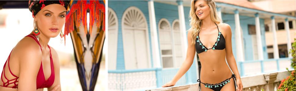 Mar De Rosas Womens Bikini Two Piece Swimsuit Hand Made Swimwear Unicolor
