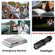 Flashlight and emergency blanket use outdoor