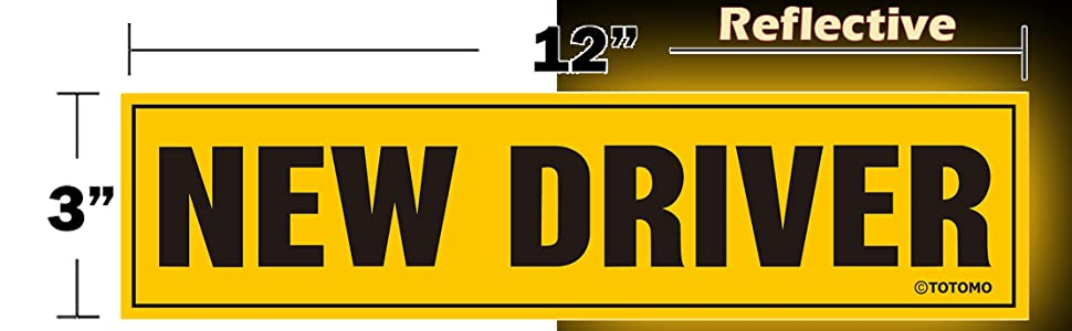 New driver please be patient magnet sticker decal reflective yellow