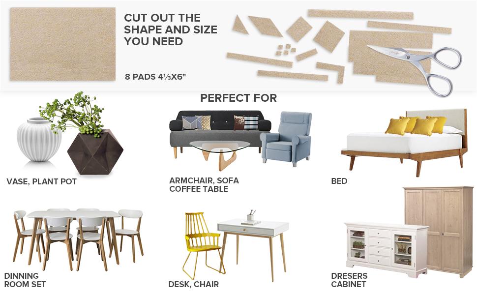 Hynec Premium Furniture Felt Pads LARGE Set 8 Size Self Stick On Chair Pads Floo
