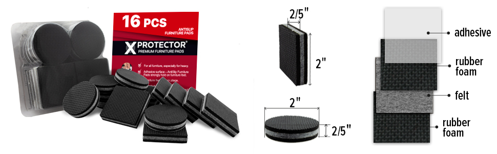 """Ideal Furniture Non Slip Pads /& Furniture Floor Protectors Clever /& Easy 3LE Best SelfAdhesive Furniture Grippers NON SLIP FURNITURE PADS PREMIUM 16 pcs 2/"""" Furniture Stoppers for Furniture Feet"""