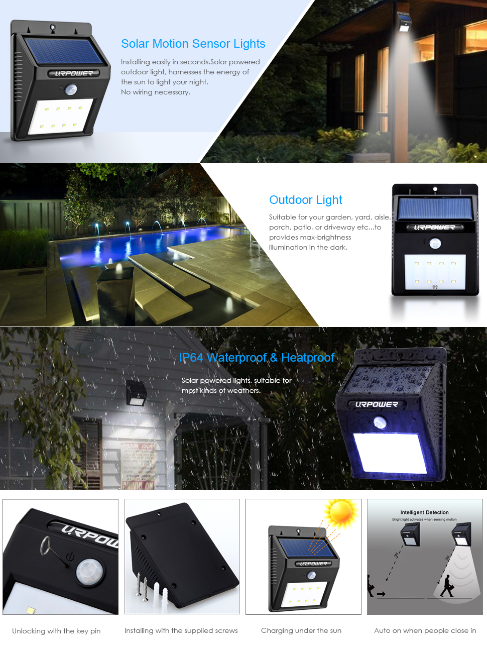 Urpower solar lights 8 led wireless waterproof motion sensor outdoor 8 led is for 8 lamp beads in one light not for 8 lights please install the unit face south and make sure the solar panel can aloadofball Image collections