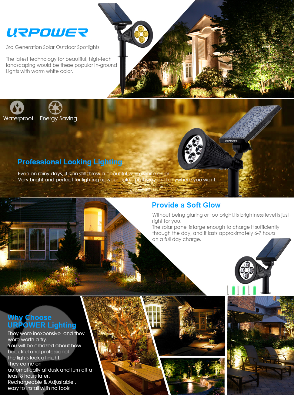 Amazon Com Urpower Solar Lights 2 In 1 Solar Powered 4