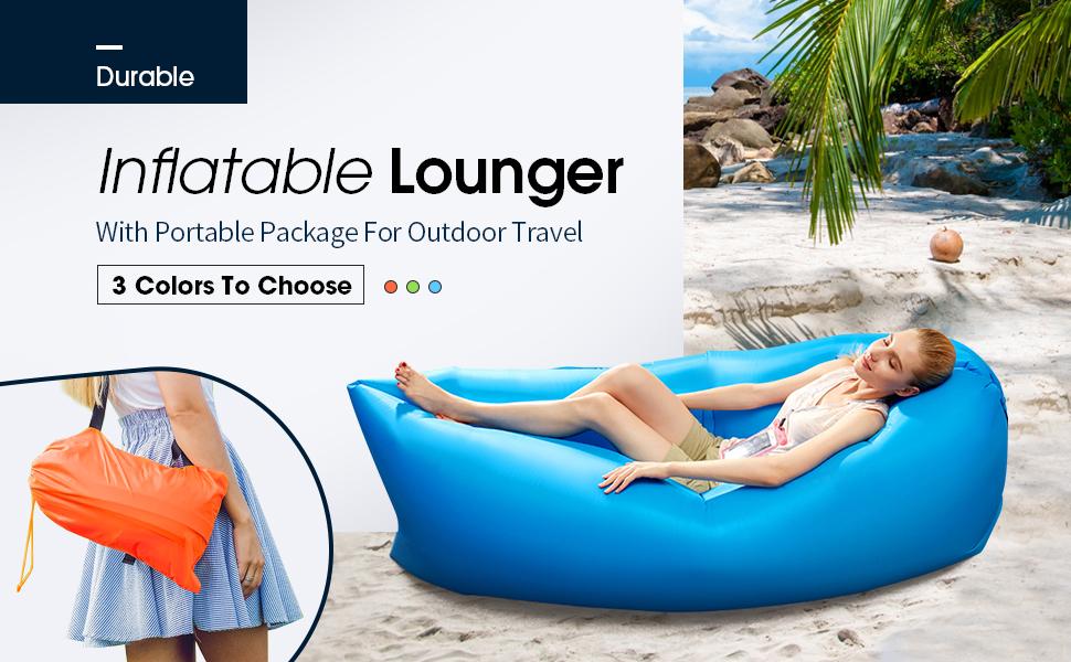 Amazon.com: Buringer Tumbona inflable y duradera, sofá de ...