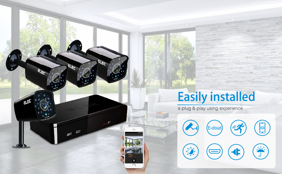 Amazon.com: ELEC 4CH DVR 960H Video Security System 4PCS 1500TVL ...