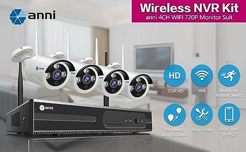 c/ámara impermeable para exteriores IP 4Pcs 720P 1MP P2P WiF 4CH 1080P Kit NVR inal/ámbrico para videovigilancia sin disco duro. Acceso remoto 65 pies