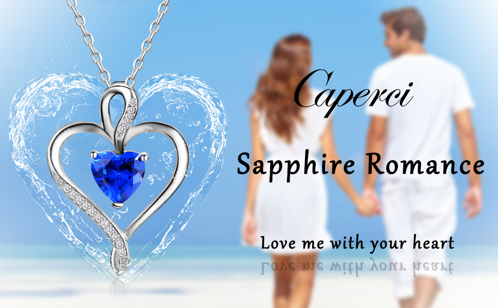 Amazon caperci sterling silver created blue sapphire jewelry caperci 925 sterling silver heart pendant necklace made with heart shaped lab created gemstone 18 aloadofball Images