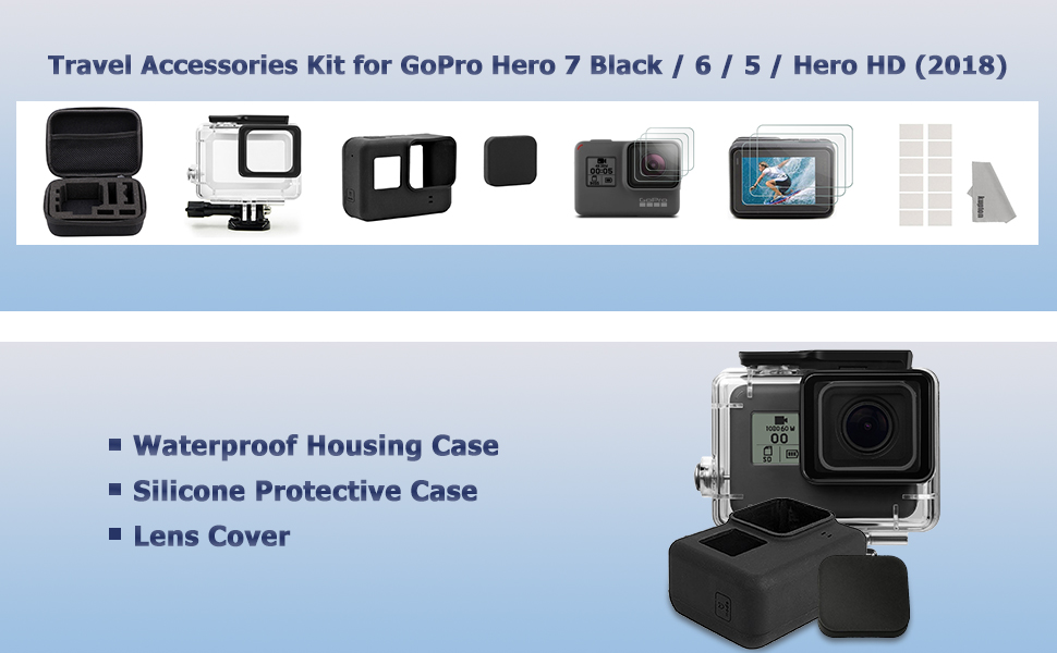 Starter Kit Travel Case 2018 Kupton Accessories For Gopro Hero 7//6// 5// Hero