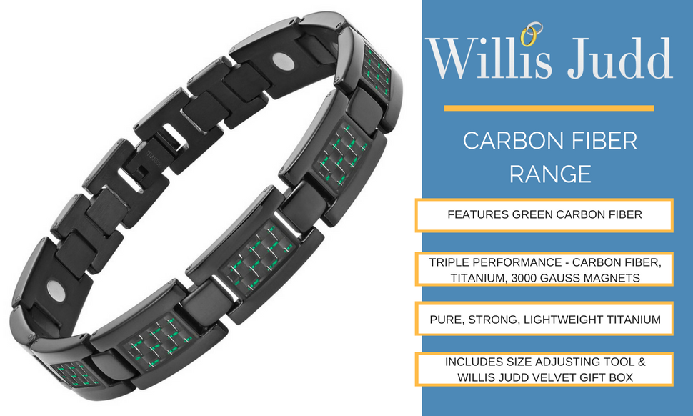 094262bf1b603 Willis Judd Mens Black Titanium Magnetic Bracelet With Green Carbon Fiber  Insets with Link Removal Tool