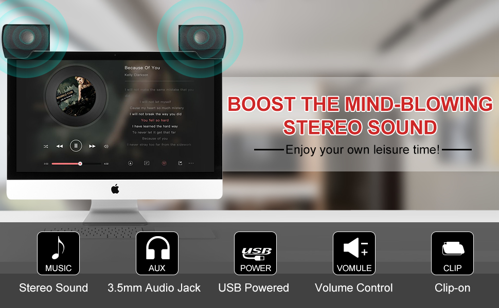 SUPVIN Portable Mini Laptop Clip-On Speaker