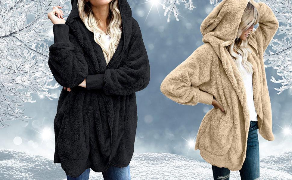 Womens Fuzzy Jacket Sherpa Coat Open Front Hooded Cardigan Outwear ... 7812aad58