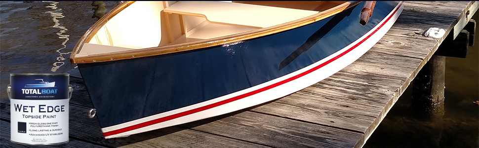 TotalBoat high gloss Wet Edge Flag Blue painted on the hull of a Badger Hays skiff
