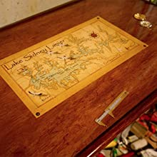 Boat table embedded with map, compass, and other objects using TotalBoat TableTop Epoxy by Brendan