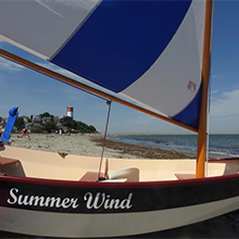 Customer Richard Honan painted 8' Nutshell Pram, Summer Wind, Off White, Bristol Beige, Flag Blue
