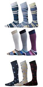 solid over the calf dress socks men high quality stripes