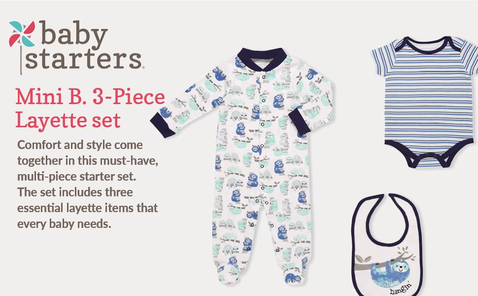 2df8f8223 Amazon.com: Mini B. by Baby Starters 3-Piece Layette Set- Blue/Just ...
