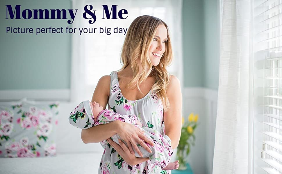 mommy and me,maternity nightgown,nursing nightgown,hospital bag,baby coming home outfit,newborn hat