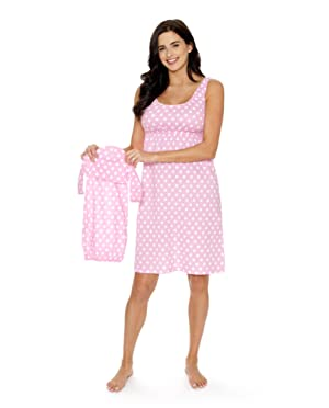52db476cb3552 These dotted maternity/nursing nightgown sets are one of our bestsellers!  Choose from over 18 prints to find your perfect match. Matching baby coming  home ...