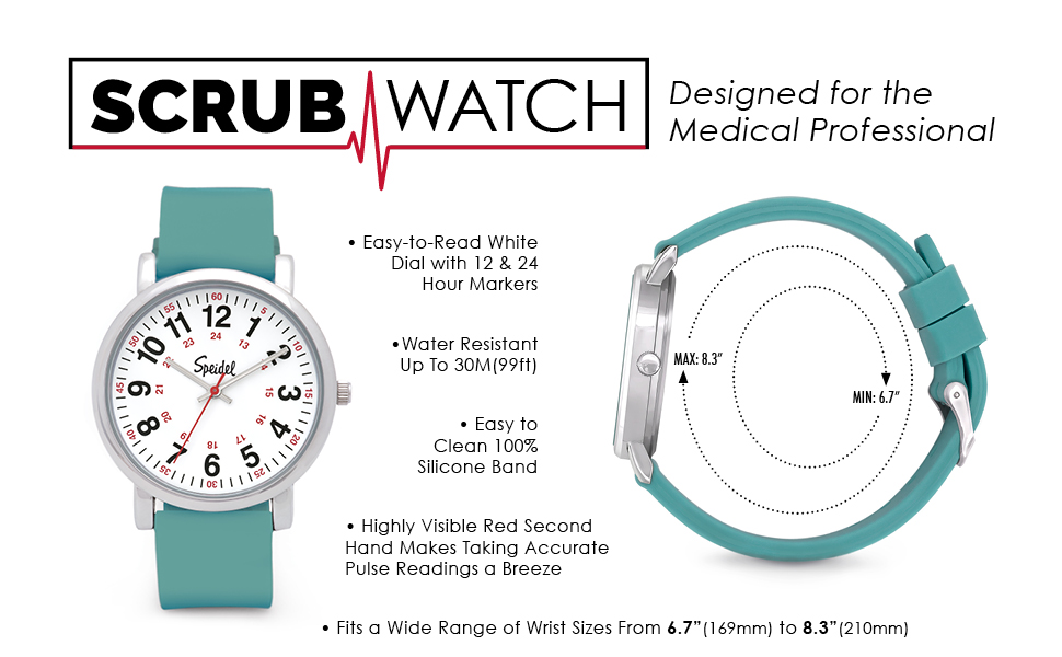 speidel scrub watch for medical professionals with teal silicone rubber band easy. Black Bedroom Furniture Sets. Home Design Ideas