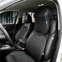 Sojoy Patented Universal Ergonomic Streamlining Car Seat//Cushion Lumbar and Neck Support 17x13x6