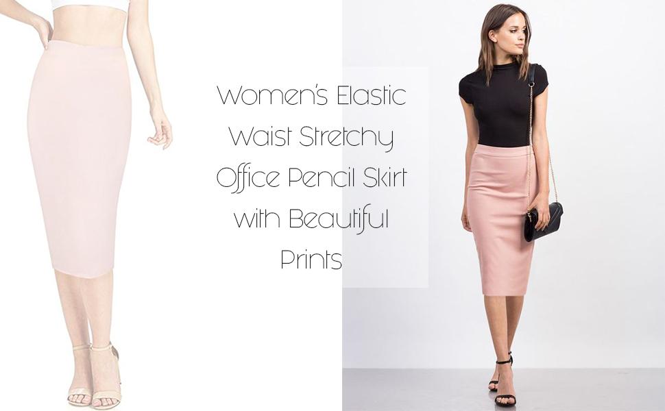 f63ac87a8b HyBrid & Company Women's Elastic Waist Stretchy Office Pencil Skirt ...