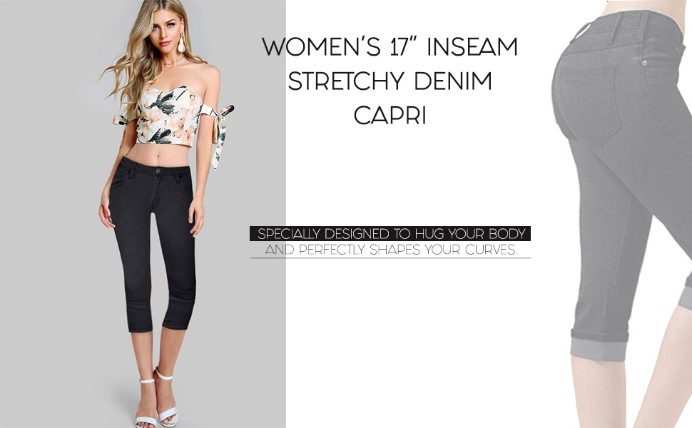 HyBrid & Company Women's Denim Capri Stretchy