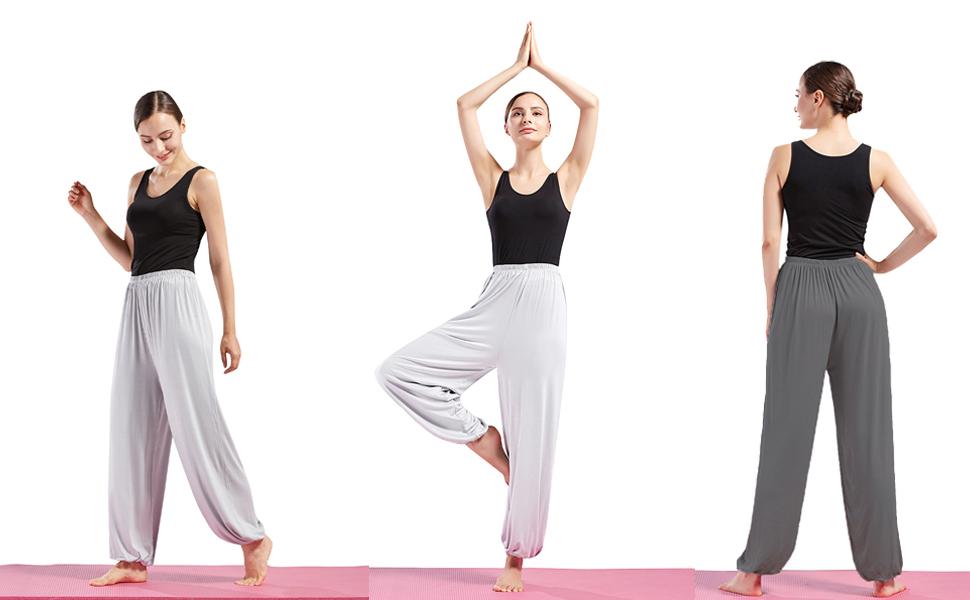Nanxson Mens Soft Modal Spandex Yoga Sports Pants Elastic Fitness Womens Yoga Harem Pants YDKM0007