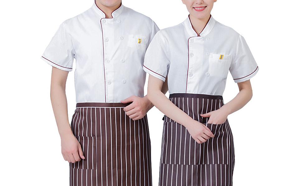 ShiyiUP Unisex Chef Coat Mens Women Chef Jacket Uniform