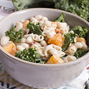 Cheezy Mac with Roasted Butternut Squash & Kale