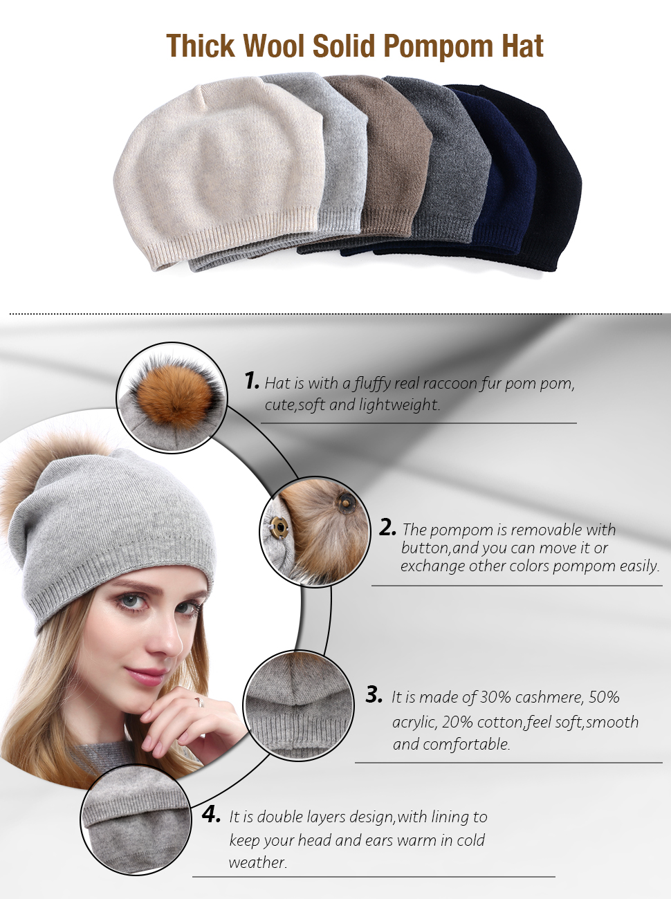 2a04eb3ea53 Women Knit Wool Beanie - Winter Fashion Solid Wool Hats Real Removable  Raccoon Fur Pom Pom Warm Ski Beanie
