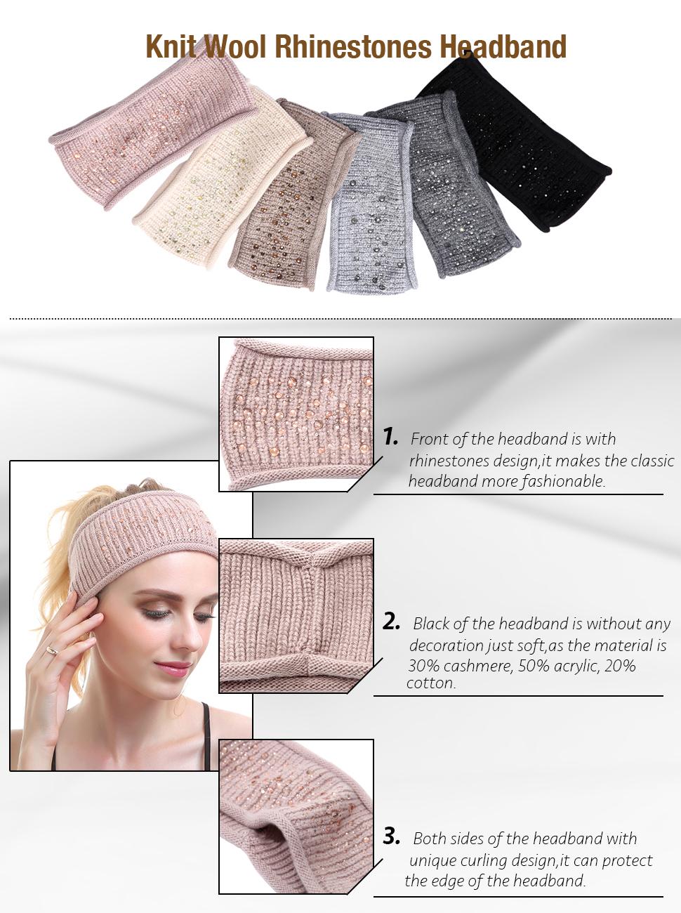 Women Knit Headband - Winter Wool Headbands Cashmere Headwear Head ...