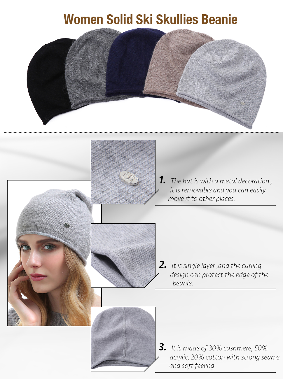 03bd3faf329 Winter Cap For Women - Warm Wool Hat Cashmere Caps Knit Solid Beanies Hats