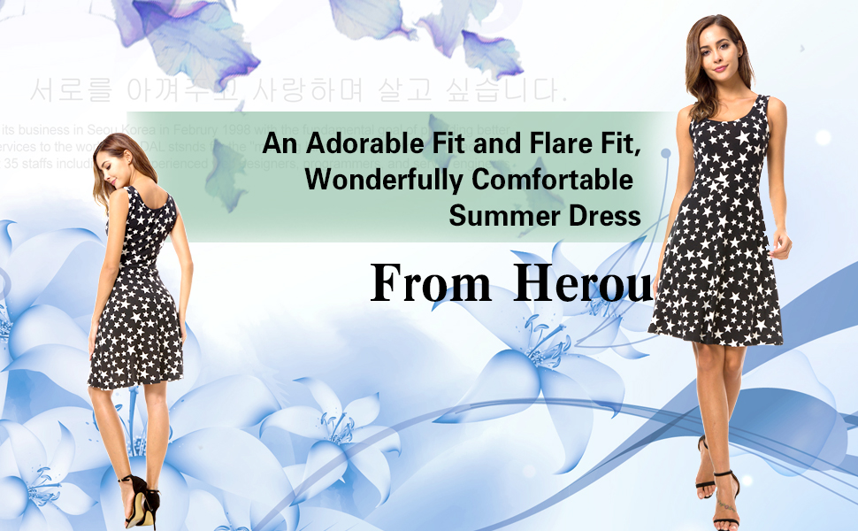 13821215a7 Description of the Herou Women Summer Beach Casual Flared Floral Tank Dress