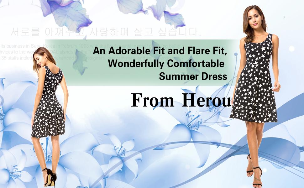 e598d42126fb Description of the Herou Women Summer Beach Casual Flared Floral Tank Dress