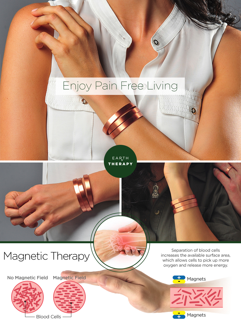 Sufferers wear copper jewelry in the hopes of easing symptoms - Benefits Of Magnetic Therapy