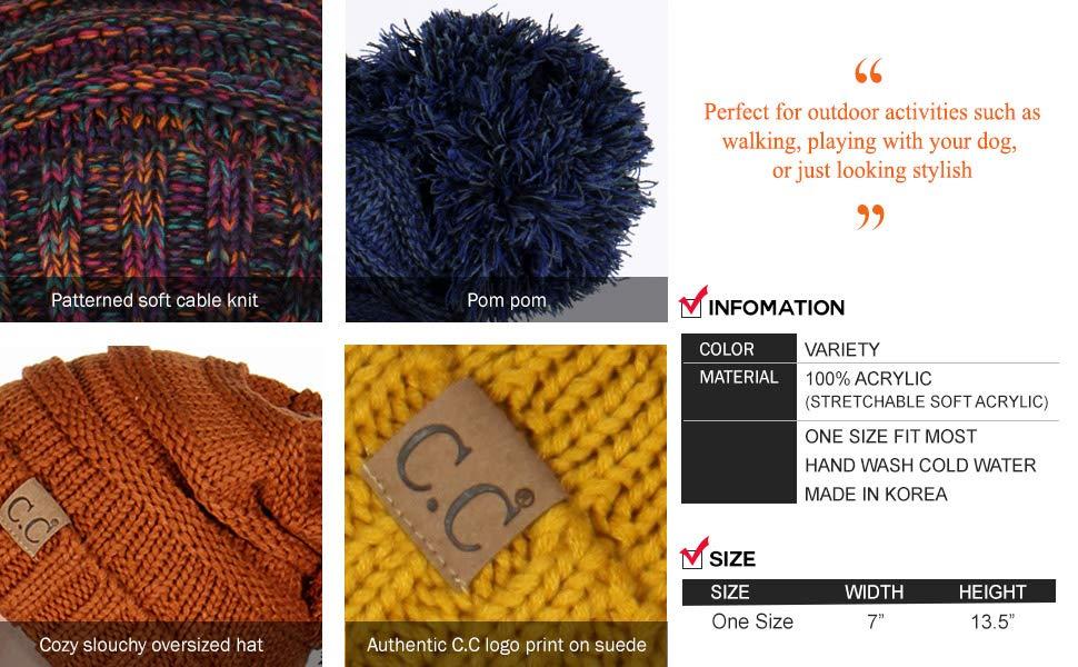knit beanie hat for women winter cap cc detail