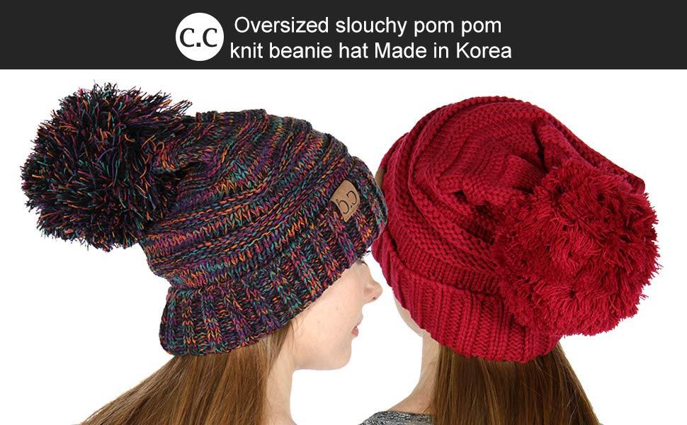knit beanie hat pompom for women winter cap