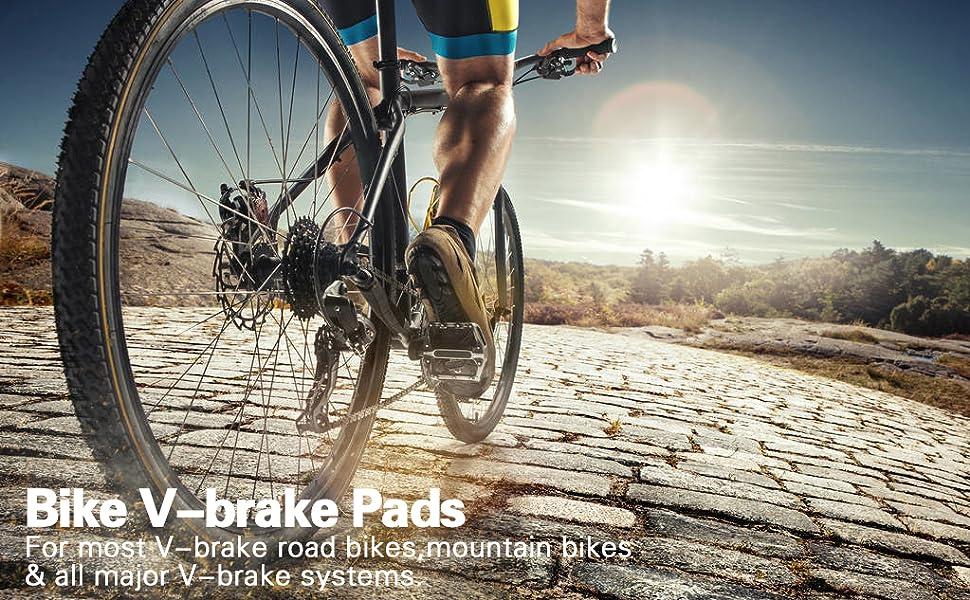 RED//BLACK Mountain MTB Bike Bicycle Abrasive Rubber V-Brake Pads*Front*