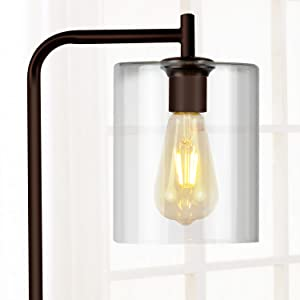 Brightech Elizabeth Bedroom&Living Room LED Floor Lamp Standing Industrial Light Hanging Glass Lamp