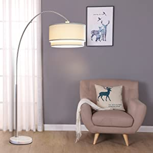 Brightech Mason Arc Floor Lamp With Unique Hanging Drum