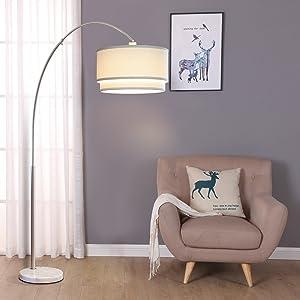 Brightech Mason Arc Floor Lamp With Unique Hanging Drum