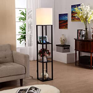 Brightech Maxwell LED USB Shelf Floor Lamp Modern Asian Style Standing Lamp