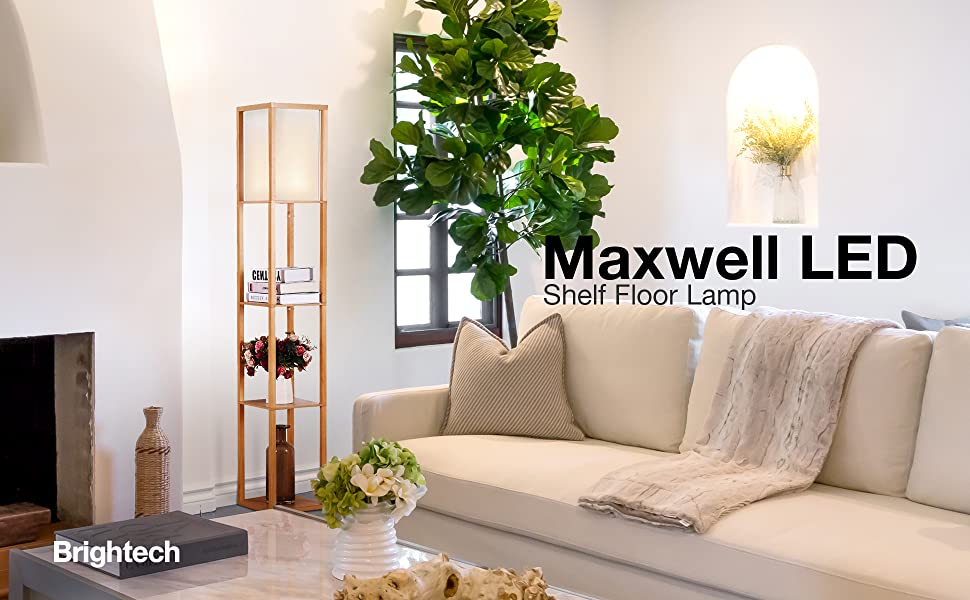 Brightech Maxwell - LED Shelf Floor Lamp - Modern Standing Light for Living  Rooms & Bedrooms - Asian Wooden Frame with Open Box Display Shelves - ...